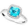 14k White Gold Ring, Blue Topaz (1-3/8 ct. t.w.) and Diamond (1/5 ct. t.w.) - Rings - Jewelry &amp; Watches - Macy&#x27;s