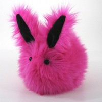 Fuchsia Hot Pink Bunny Faux Fur Stuffed Toy Animal Plushie Momma Size