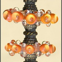 Handmade Lampwork Beads, Coral  Beads, Lampwork Glass Bubble Beads Disc Set Spacers(6)