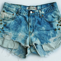 WLDHRTS Vintage Spike STUDDED High Waisted Denim Shorts Bleached Tie Dye L