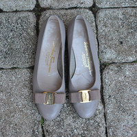 Vintage Ferragamo Nude Vara Flats 1980s