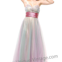 2011 Prom Dresses Dusty Pink Tulle Long Sweetheart Dress Size - XS to XL - Unique Vintage
