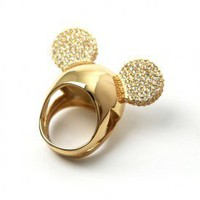 Disney Couture Jewelry - Minnie x Mawi: Encrusted Mnnie Ears Ring (Gold/Crystal) | 80&#x27;s Purple
