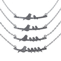 MOTHER NESTLING BIRDS NECKLACE | Sentimental Jewelry, For Mothers, Recycled Stering Silver Jewelry, Sparrow and Babies | UncommonGoods