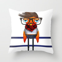 Hipster Bird Throw Pillow by Unraveled | Society6