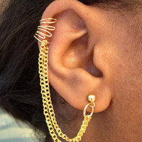 BACKORDER - Gold Cuff Earring with Chain