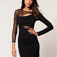 ASOS | ASOS Bodycon Dress with Circle Sequin Mesh Sleeve at ASOS