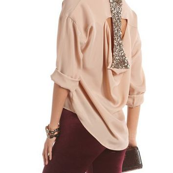 Draped Sequin Back Crepe Blouse