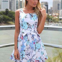 Floral Print Sleeveless Dress with Front Bow Detail