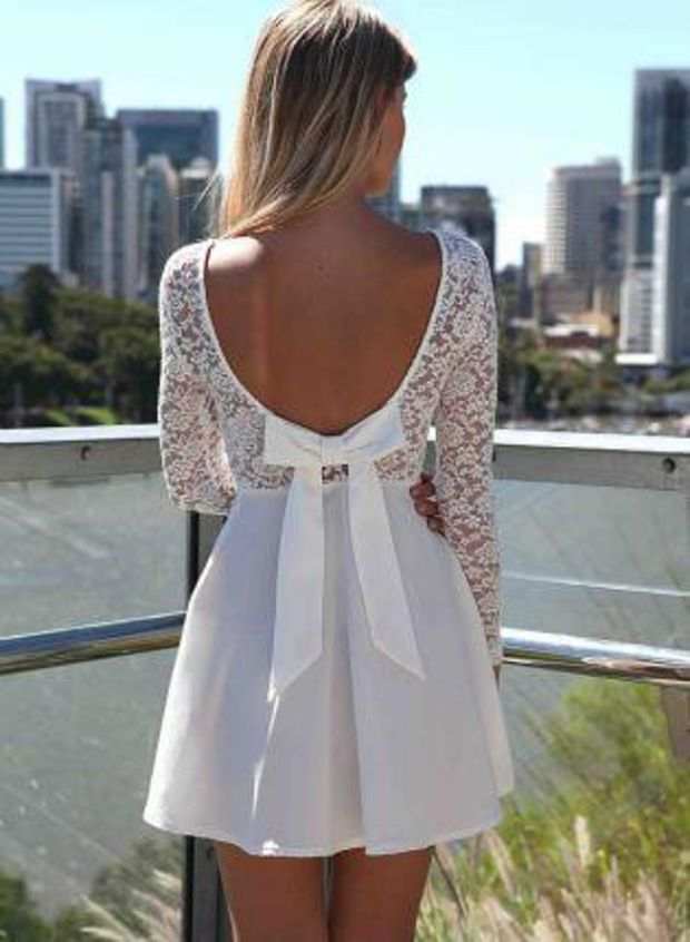 White Long Sleeve Skater Dress with Scoop Bow Back