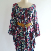 VINTAGE FLORAL PRINT PLEATE DRAPED BOHO OVERSIZE MINI DRESS L XL - Dresses