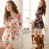 FashionLong Sleeve Rose Flower Lace Casual Tops Shirts Blouses Colorful