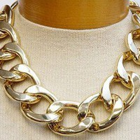 "BOLD CHIC Gold Chunky Link Chain 16 19"" Necklace Fashion UNIKLOOK Design Jewelry"