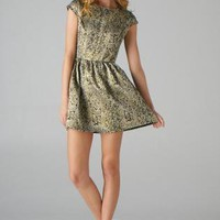 Gold Foil Fit and Flare Dress with Cap Sleeves