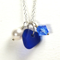 Blue Sea Glass Necklace, Swarovski Crystal Sapphire Pearl