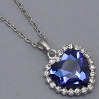 Titanic Heart Of Ocean Sapphire Blue Crystal Glass Silver Chain Elegant Necklace