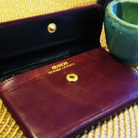 vintage BUXTON leather burgandy id holder. coin purse. small wallet. pouch. change purse.