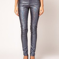 ASOS Skinny Jeans in Petrol Blue Metallic Holographic Print at asos.com