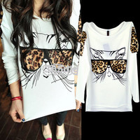 Fashion Glasses Leopard Printed Kitten Design Top Chic Ponder Grain T-shirt DN00