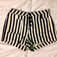 Forever 21 Black &amp; White Striped Shorts