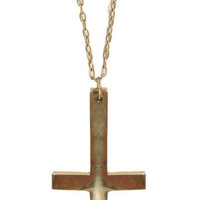 GYPSY WARRIOR - Rock & Roll Cross Necklace - Brass