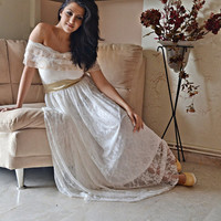 Bohemian Wedding Dress / Ivory Lace Wedding Dress / Maxi Strappless Bridal Wedding Retro Gown / Handmade by SuzannaM Designs