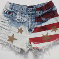 Vtg 80's Tommy Hilfiger  Raw American Flag SHRed Bleached Reworked High Waist Jean Shorts