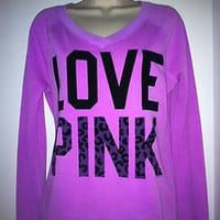 VICTORIA&#x27;S SECRET LOVE PINK LEOPARD V-NECK SWEATSHIRT NWT XS