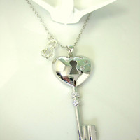 Sterling silver heart key charm necklace with Swarovski crystal