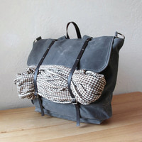Waxed Canvas Backpack // Rucksack // Leather Straps // in Slate Gray // Organic Cotton Lining