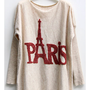 Paris Eiffel Tower Print Bat Sleeves Jumper