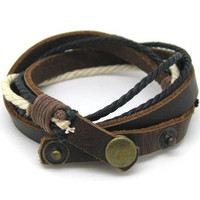 Bangle leather bracelet woven bracelet buckle bracelet women bracelet men bracelet made of leather and ropes wrist bracelet  c-001