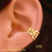 24K Gold Princess Filigree ear cuff earring jewelry - non pierced earcuff clip 110812