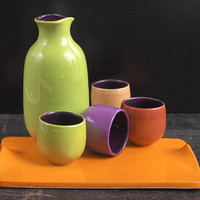 Multicolored Sake Set on Tray (#2): Judith Weber: Ceramic Sake Set - Artful Home