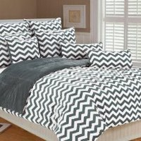 Amazon.com: Marlo Lorenz 4892 Chevron Microplush Comforter Set, Silver, Full/Queen: Home & Kitchen