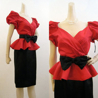 80s Dress Vintage Puff Sleeve Peplum Holiday Red Black Cocktail Party S