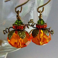 Pumpkin Earrings by pinkingedgedesigns on Etsy