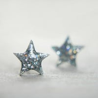 tiny star post earrings in iridescent sparkles by tinygalaxies