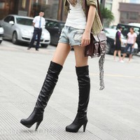 New Black PU Stiletto Heels Knee High Women's Boots: tidestore.com