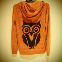 COSMIC RAY clothing  &#x27;OWL&#x27; Orange Burnout Hoodie