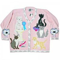 Storybook Knits Show Cats Pink Cat Lady Ugly Sweater/Cardigan Women&#x27;s Plus Size 2X Brand New!