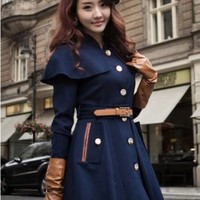 Wholesale British Style Belt Embellished with Cape Coat Deep Blue