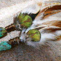 HOLIDAY SALE pure spirit...single layer turquoise feather earrings // gift under 30