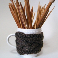 Hand Knit Cable Cup Cozy in Tweed Brown