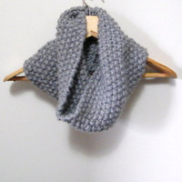 Hand Knitted Cowl Scarf in Gray