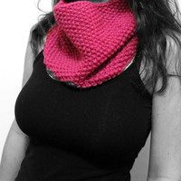 Hand Knit Cowl Scarf in Rose Pink