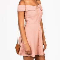 textured-crepe-dress BLACK BLUSH IVORY - GoJane.com
