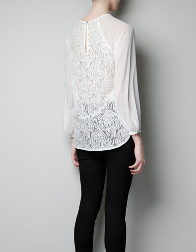 Zara Yellow Lace Blouse 32