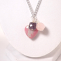 Pink Cluster Necklace with Mixed Gemstones Rhodonite Rose Quartz Amethyst