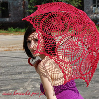 SALE Lace parasol rose red umbrella victorian style for by kroowka